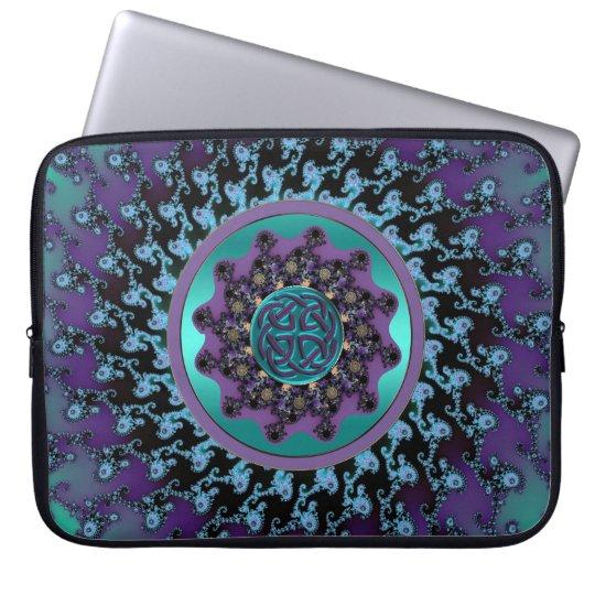 Celtic Mandala on Colourful Fractal Laptop Bag