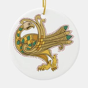 Celtic Mediaeval Golden Peacock, Ceramic Christmas Ornament