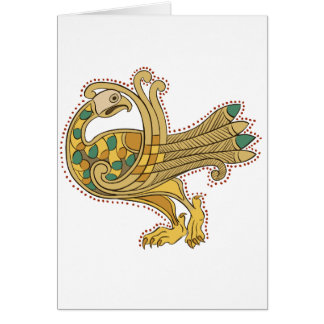 Celtic Medieval Goen Peacock, Greeting Card