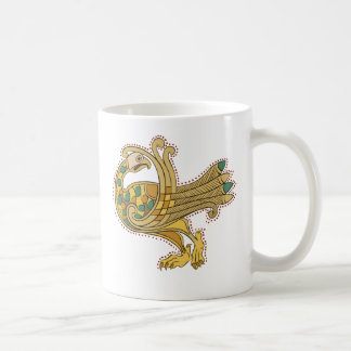Celtic Medieval Golden Peacock, Basic White Mug