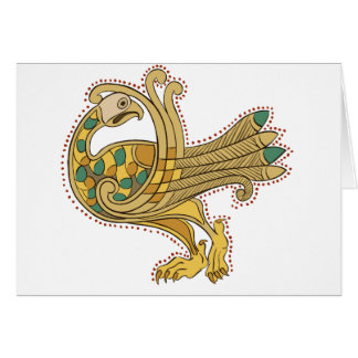 Celtic Medieval Golden Peacock, Greeting Cards