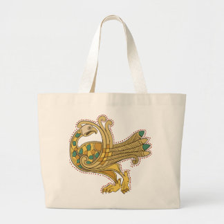 Celtic Medieval Golden Peacock, Jumbo Tote Bag