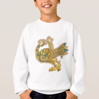 Celtic Medieval Golden Peacock, Kid's Sweatshirt