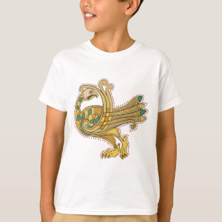 Celtic Medieval Golden Peacock, Kids T-Shirt