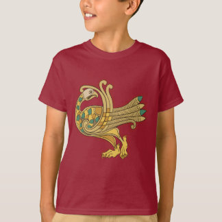 Celtic Medieval Golden Peacock Kids' Tagless Shirt