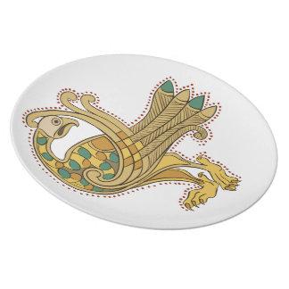 Celtic Medieval Golden Peacock Melamine Plate
