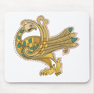 Celtic Medieval Golden Peacock, Mouse Pad