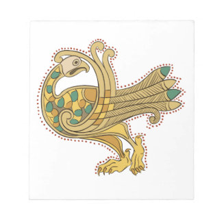 Celtic Medieval Golden Peacock Notepad