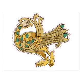 Celtic Medieval Golden Peacock Postcard