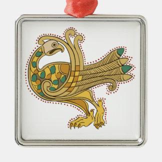 Celtic Medieval Golden Peacock, Square Decoration Silver-Colored Square Decoration