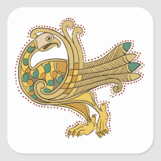 Celtic Medieval Golden Peacock, Square Stickers