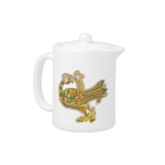 Celtic Medieval Golden Peacock Tea Pot