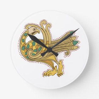 Celtic Medieval Golden Peacock, Wallclocks