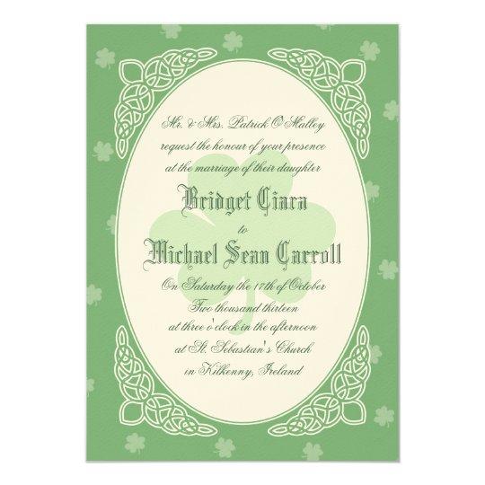 Celtic Mist Wedding Invitation - Green