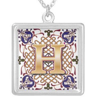 Celtic Monogram Letter H Square Pendant Necklace