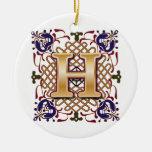 Celtic Monogram Letter H Ornaments