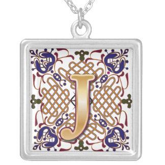 Celtic Monogram Letter J Square Pendant Necklace