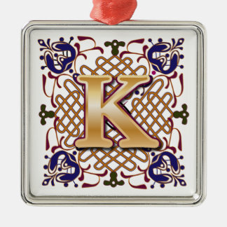 Celtic Monogram Letter K Christmas Ornament