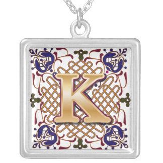Celtic Monogram Letter K Square Pendant Necklace