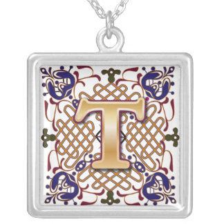 Celtic Monogram Letter T Square Pendant Necklace