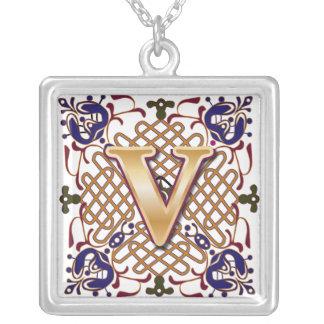 Celtic Monogram Letter V Square Pendant Necklace