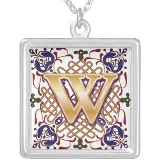 Celtic Monogram Letter W Square Pendant Necklace