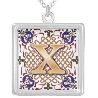Celtic Monogram Letter X Jewelry