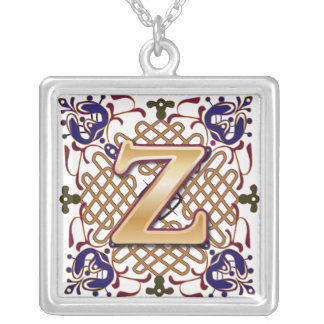 Celtic Monogram Letter Z Square Pendant Necklace