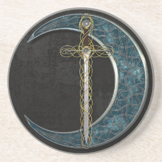 Celtic Moon and Sword Coaster