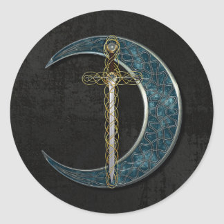 Celtic Moon And Sword Round Sticker