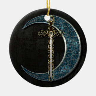 Celtic Moon Double-Sided Ceramic Round Christmas Ornament
