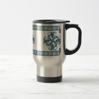 Celtic Mugs, Zoomorphic Crane #2 Stainless Steel Travel Mug