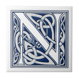 Celtic N Monogram Small Square Tile