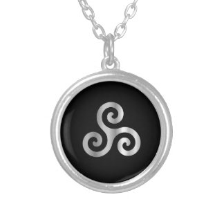 Celtic Neopaganism triple spiral triskelion.jpg Silver Plated Necklace