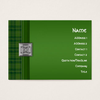 Celtic Patriot Tartan in Green & Celtic Knot Pin Business Card