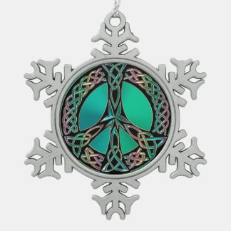Celtic Peace - Celtic Knot Peace Sign Snowflake Pewter Christmas Ornament