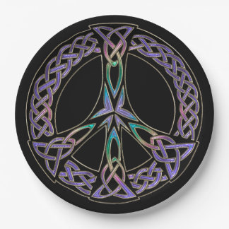 Celtic Peace Sign in Lavender and Rainbow 9 Inch Paper Plate