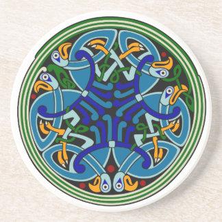 Celtic peacock knotwork Coaster