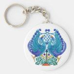 Celtic Peacocks Classic Button Keychain