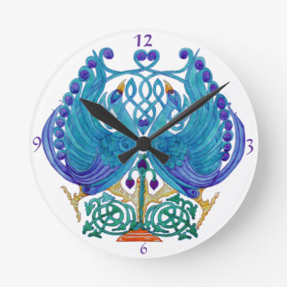 Celtic Peacocks Wall Clock