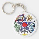 Celtic Pentagram Basic Round Button Key Ring