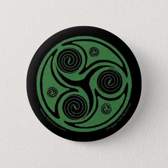 Celtic Pins and Buttons, Irish Triskel Spiral #2
