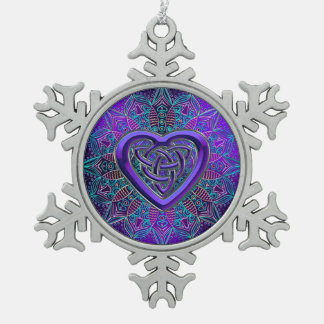 Celtic Purple Heart Mandala Christmas Ornament