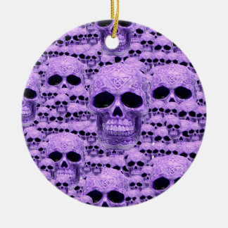 Celtic purple skull collage christmas ornament