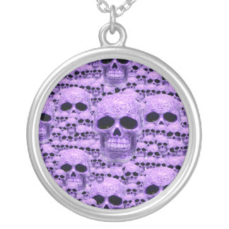Celtic purple skull collage silver plated necklace