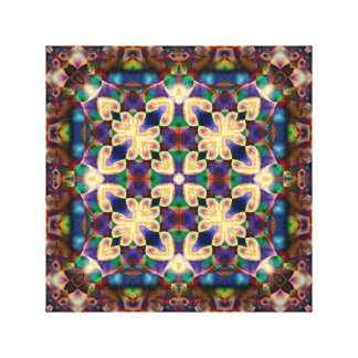 Celtic Rainbow Heart Stained Glass Mandala Canvas Print