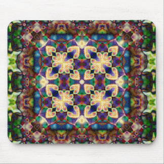 Celtic Rainbow Heart Stained Glass Mandala Mouse Pad