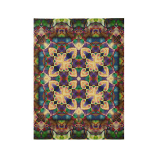 Celtic Rainbow Heart Stained Glass Mandala Wood Poster