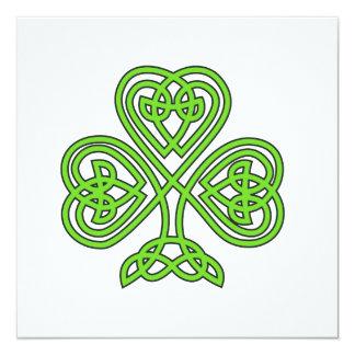 Celtic Shamrock Design 13 Cm X 13 Cm Square Invitation Card