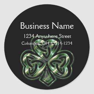 Celtic Shamrock Design 2 Round Address Labels Round Sticker